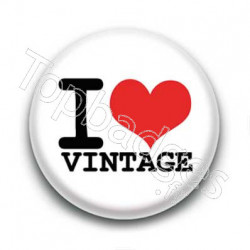 Badge I Love Vintage Sur Fond Blanc