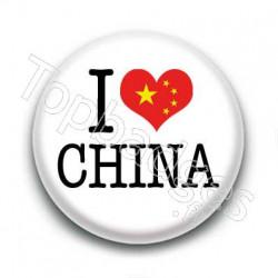 Badge I Love China Sur Fond Blanc