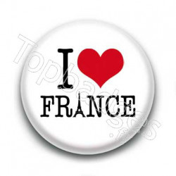 Badge I Love France Sur Fond Blanc