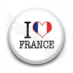 Badge I Love France 2 Sur Fond Blanc