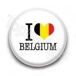 Badge I Love Belgium Sur Fond Blanc