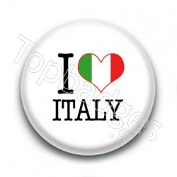 Badge I Love Italy Sur Fond Blanc
