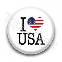 Badge I Love USA Sur Fond Blanc