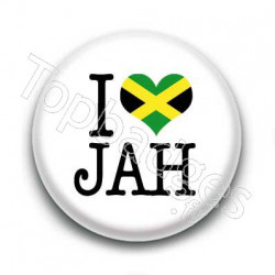 Badge I Love JAH Sur Fond Blanc