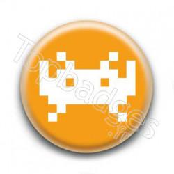 Badge Invader Pixel Orange