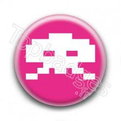 Badge Crâne Pixel Rose