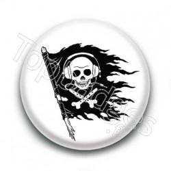 Badge drapeau tête de mort musique