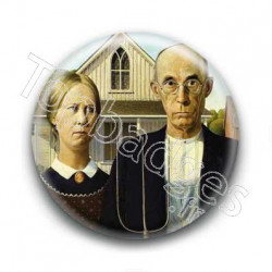 Badge : American Gothic, Grant Wood