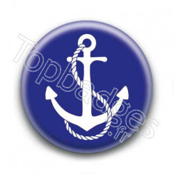 Badge ancre marine blanche sur fond bleu