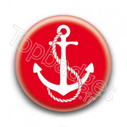 Badge ancre marine blanche sur fond rouge