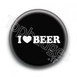 Badge I Love Beer Fond Noir