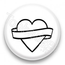Badge Coeur Tatoo Blanc