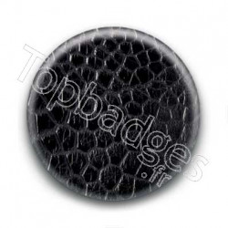 Badge Cuir Crocodile Noir