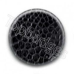Badge Cuir Crocodile Noir