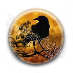 Badge Corbeau Fumée