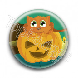 Badge Citrouille et Chat
