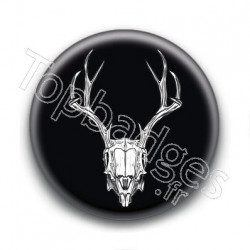 Badge Crâne de Cerf Fond Noir