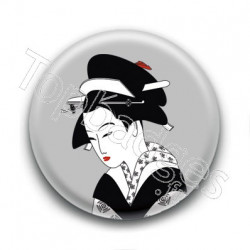 Badge : Estampe d'une Geisha, gris