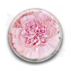 Badge Fleur Oeillet Rose