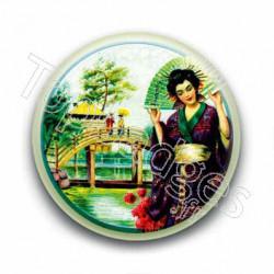 Badge : Peinture d'une geisha