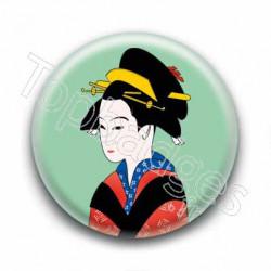 Badge Peinture d'une Geisha Vert
