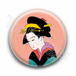 Badge : Estampe d'une Geisha, corail