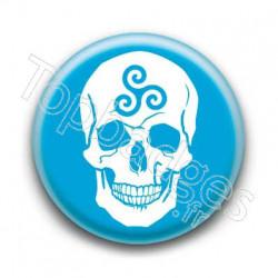 Badge Crâne Triskel Bleu