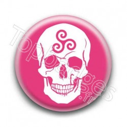 Badge Crâne Triskel Rose