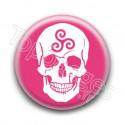 Badge Crâne Triskel Rose