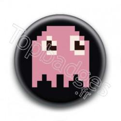 Badge Fantôme Rose Pacman 8 Bit