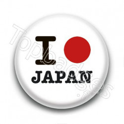 Badge : I love Japan, drapeau