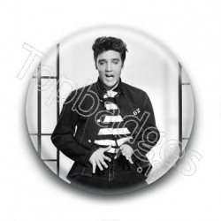 Badge Chanteur Elvis Presley Grimace
