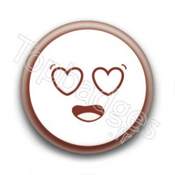 Badge Cute Smiley Amoureux