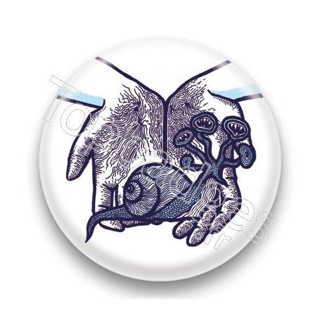 Badge Escargot Bleu - by Arnopeople