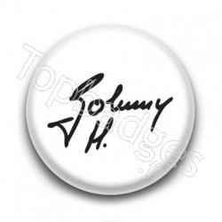 Badge : Johnny H, signature fond blanc