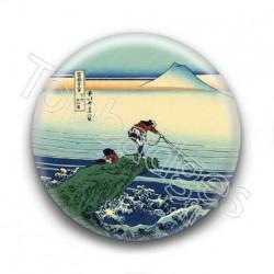 Badge : Pêcheurs, estampe japonaise