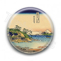Badge : Village paisible, estampe japonaise