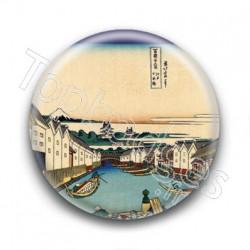 Badge : Fleuve, estampe japonaise