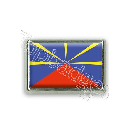 Pins rectangle : Drapeau Réunion