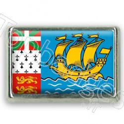 Pins rectangle : Drapeau Saint Pierre et Miquelon