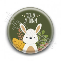 Badge : Hello Autumn, lapin