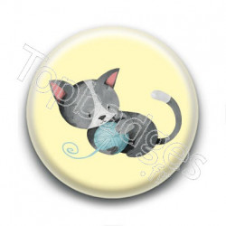 Badge : Chaton noir et blanc