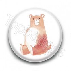 Badge : Ours aquarelle