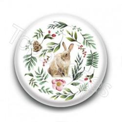 Badge : Lapin et forêt