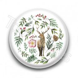 Badge : Cerf et forêt