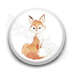 Badge : Renard aquarelle