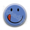 Badge : Smiley bleu langue
