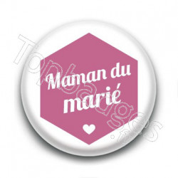 Badge : Hexagone rose, Maman du marié
