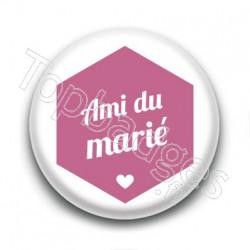 Badge : Hexagone rose, Ami du marié