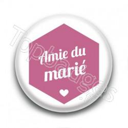 Badge : Hexagone rose, Amie du marié